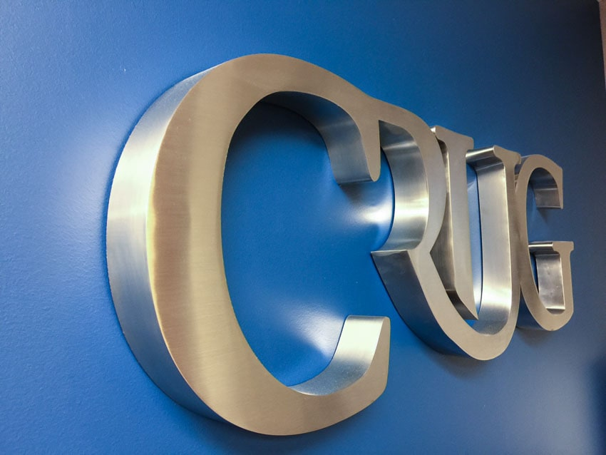 brushed stainless steel fabricated metal letters crug-2