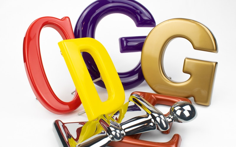 formed plastic letter options gold purple red and yellow in different font styles