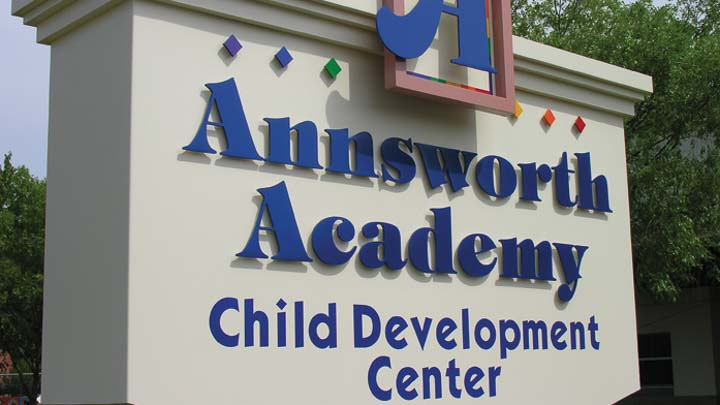 painted aluminum custom letters for school exterior monument