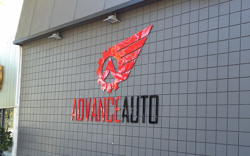 Flat Cut acrylic logo in glossy black and red for outside business sign advance auto