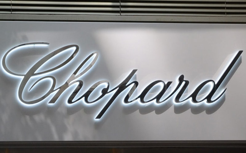 backlit halo letters in polished mirror stainless steel with white LEDs for chopard retail