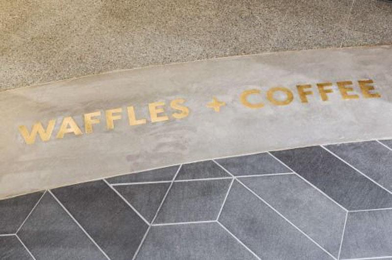 brass metal letters concrete waffles