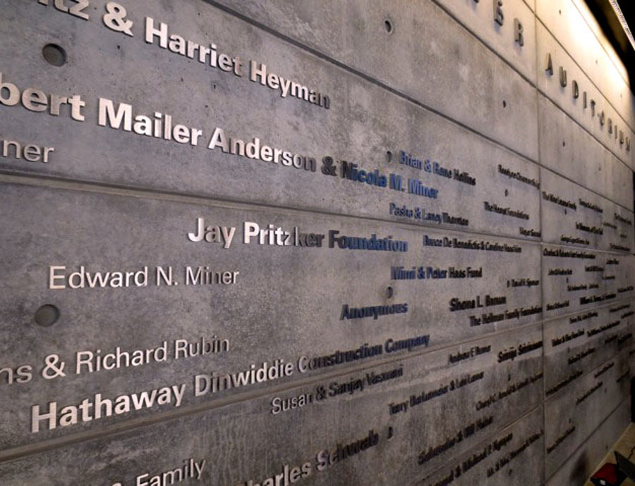 brushed aluminum metal donor wall