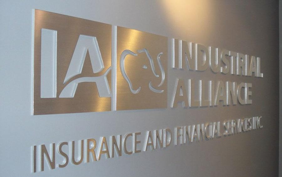 brushed aluminum metal logo letters ia insurance office lobby