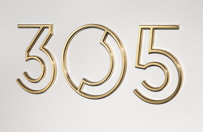brushed brass metal numbers hotel