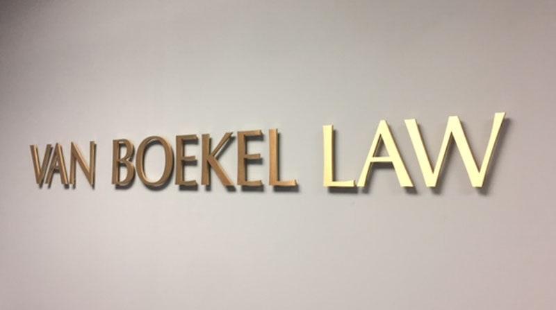 brushed bronze metal boekel law office lobby 2