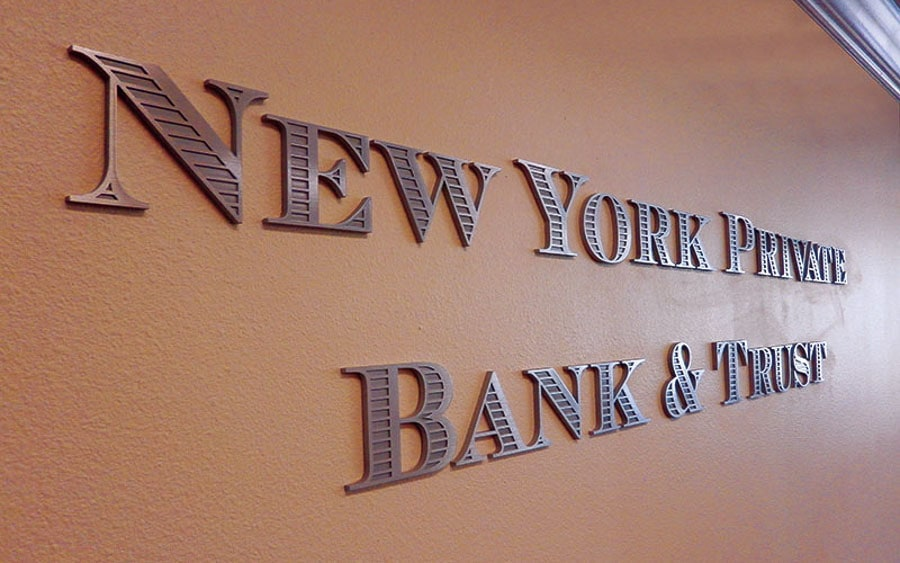 cast alumimnum metal letters stamped face new york bank