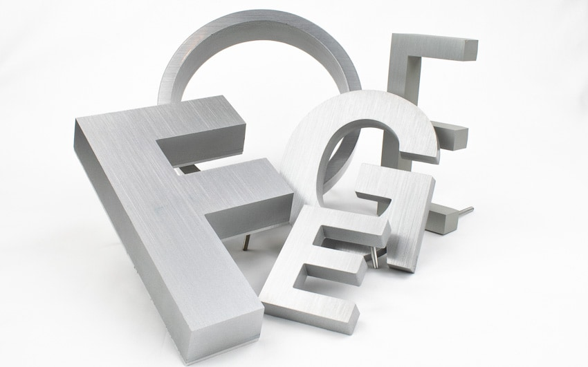 cast aluminum letter examples in brushed finish