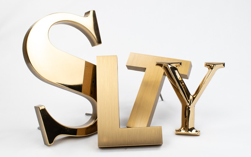 cast bronze letter examples in brushed and polished mirror finish