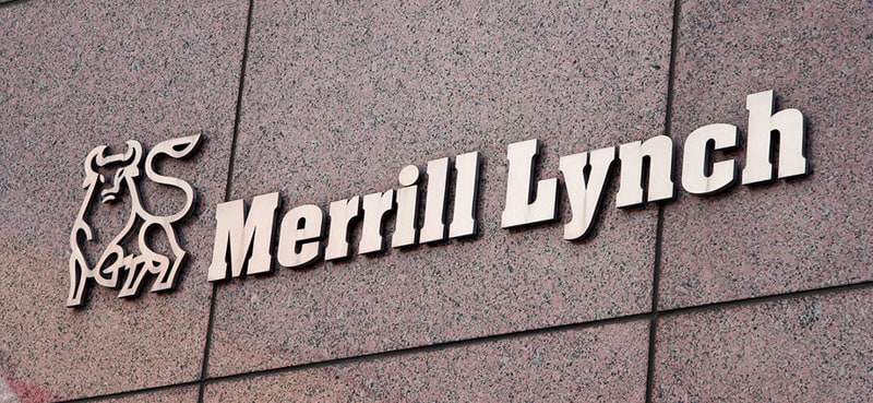 cast bronze metal letters merrill lynch bank