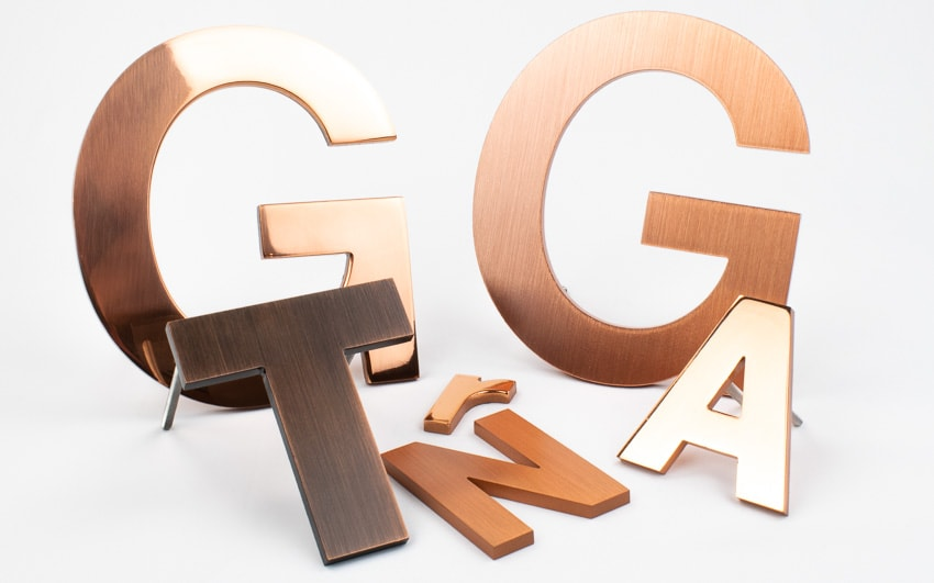 brushed oxidized copper letter examples