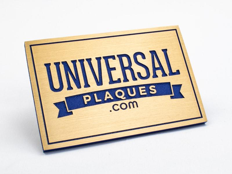 etched brushed bronze plaque sample