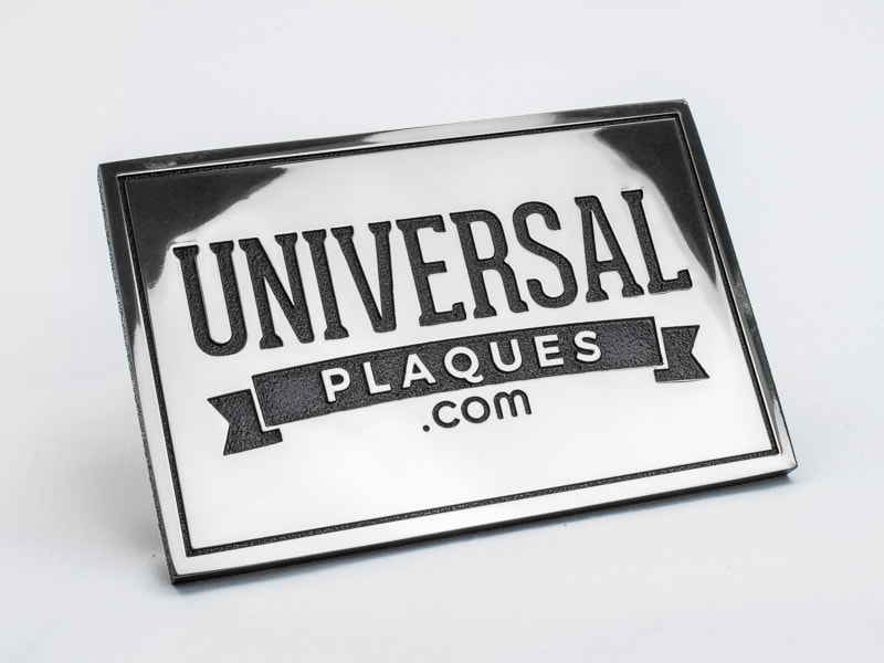 etched polished aluminum plaque sample