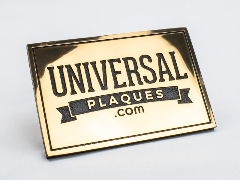 etched polished bronze plaque sample