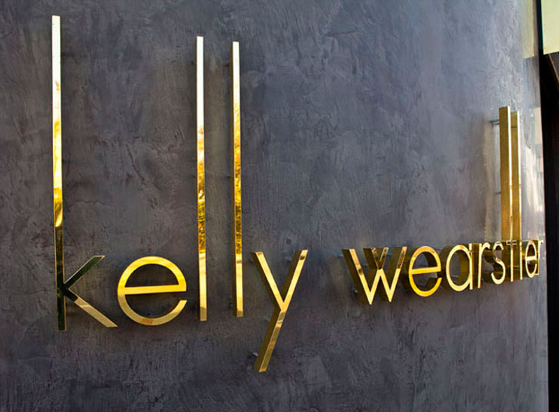 fabricated polished brass metal letters kelly