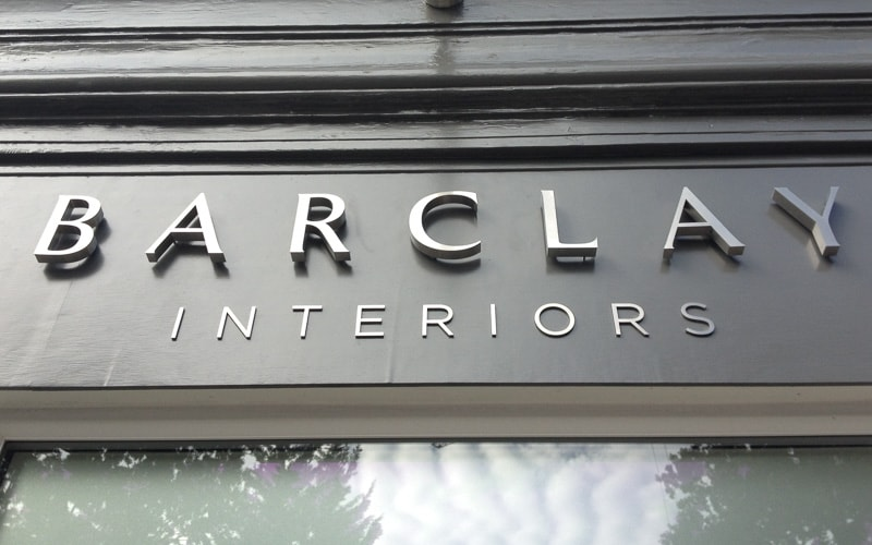 fabricated stainless metal letters barclay