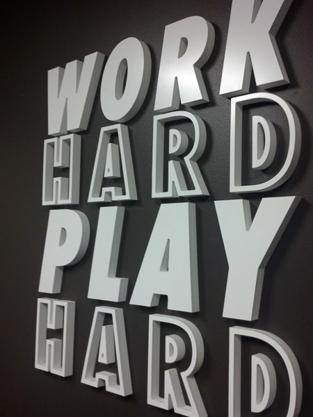 foam letters white office work hard