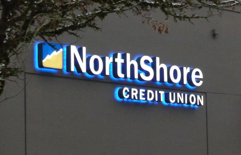 front backlit channel letters credit union bank