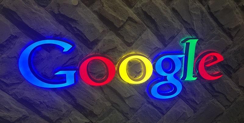 lighted acrylic color LEDs google lobby
