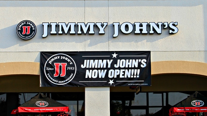 lighted channel letters outside building jimmy johns