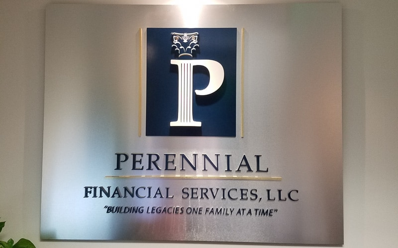 Painted Acrylic Letters & Logo on Aluminum Panel for bank financial services company lobby
