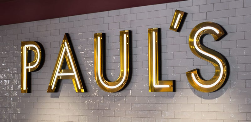 open faced led neon marquee gold pauls restaurant