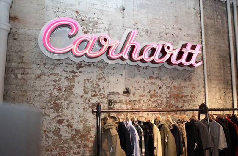 open faced led neon marquee pink carhartt store