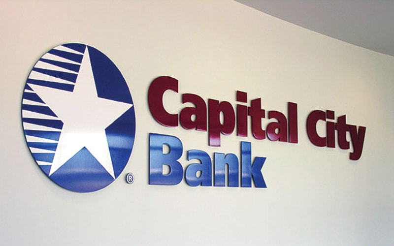painted aluminum metal letters logo capital bank