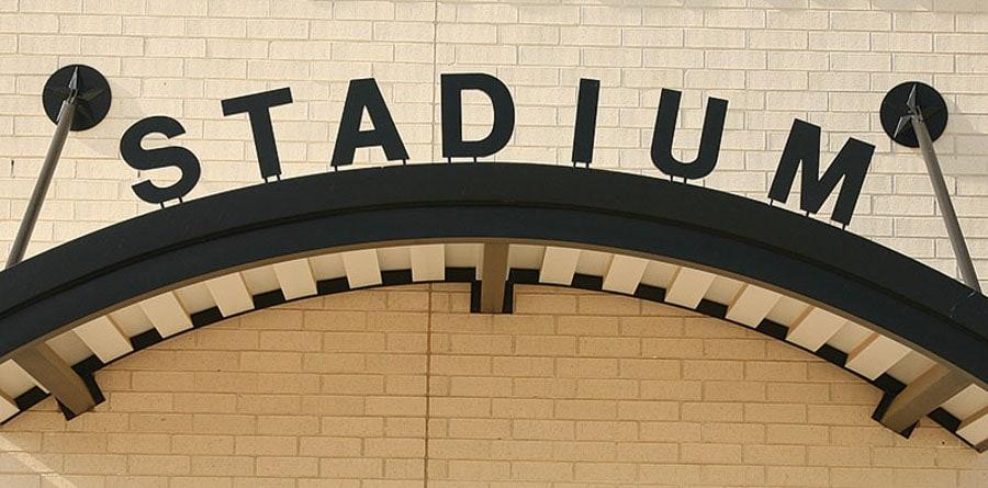 painted black cast aluminum metal letters bottom mount stadium