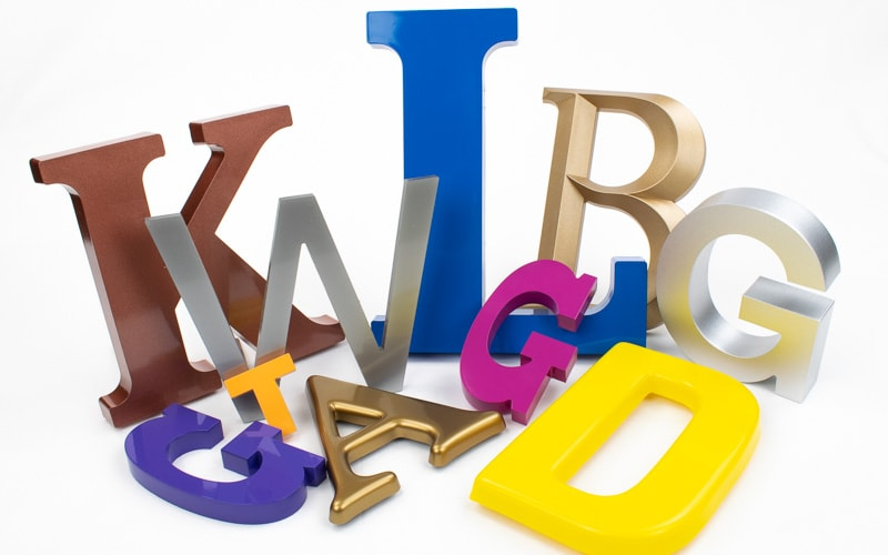 plastic letter options in painted injection molded acrylic and formed plastic
