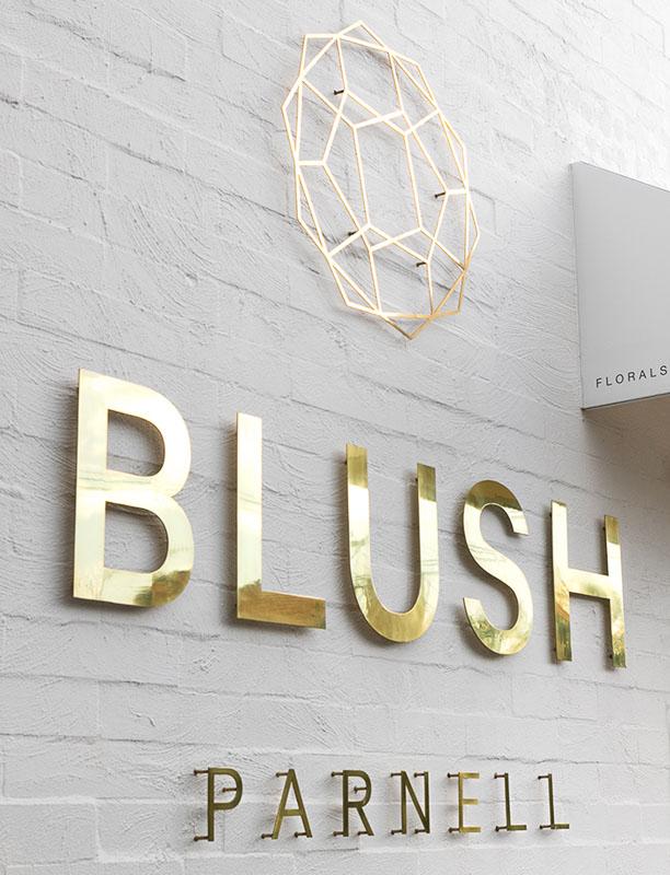polished brass metal logo blush business 2
