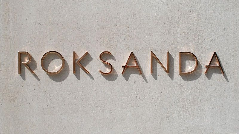 polished copper metal letters roksanda retail