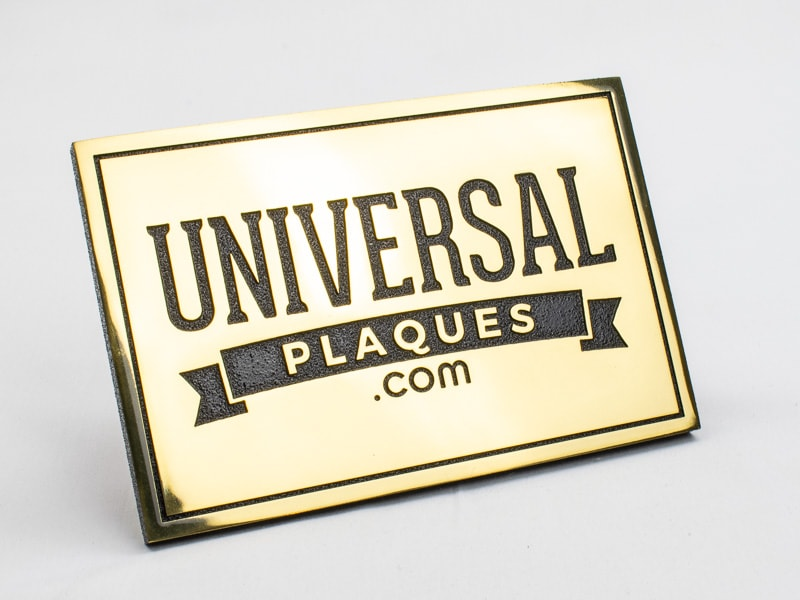 polished etched brass plaque sample