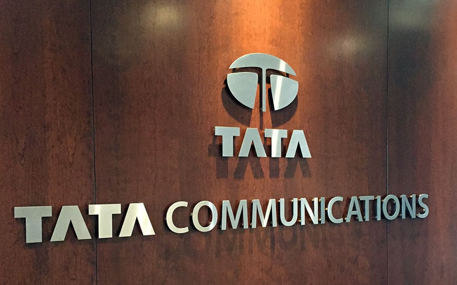 solid brushed aluminum metal logo tata office wall