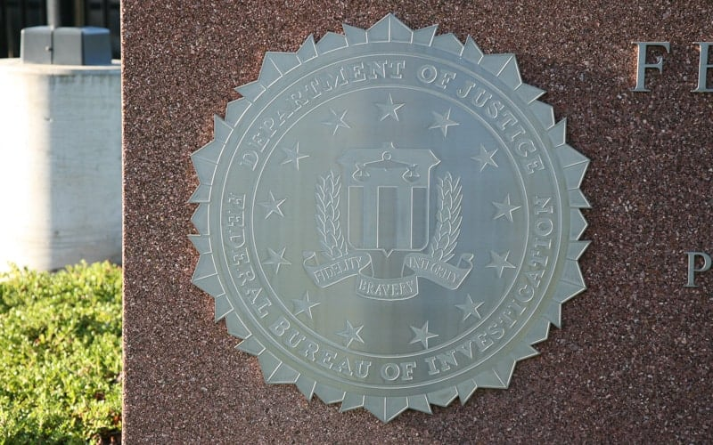Cast Aluminum Plaque with Unpainted Background for FBI Seal Mounted outside