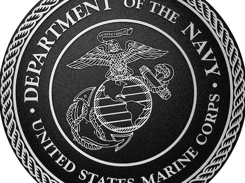 cast aluminum metal marine corps seal military plaque