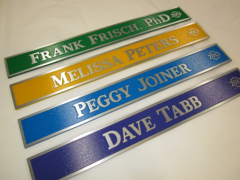 aluminum metal plaque painted background names