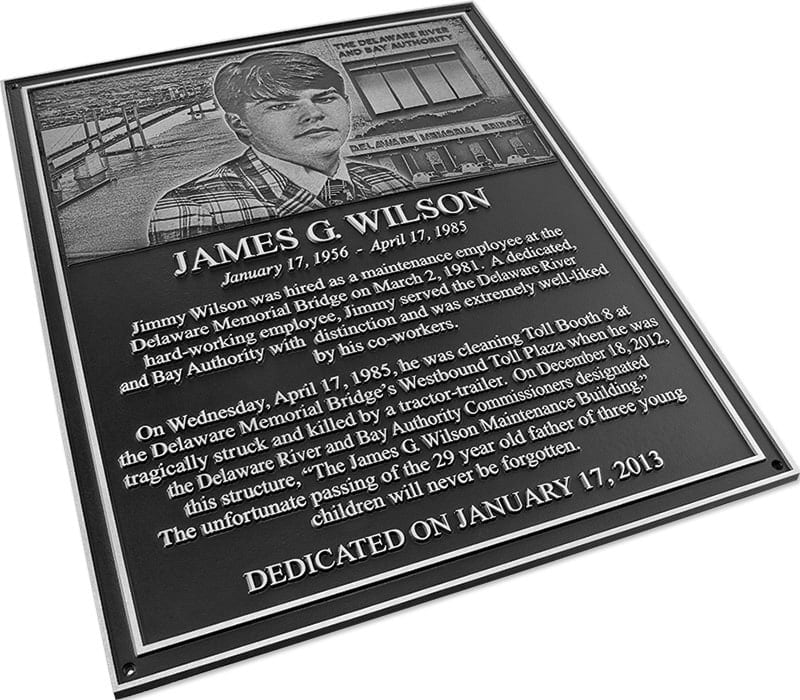 aluminum metal plaque photorelief commemorative wilson 2