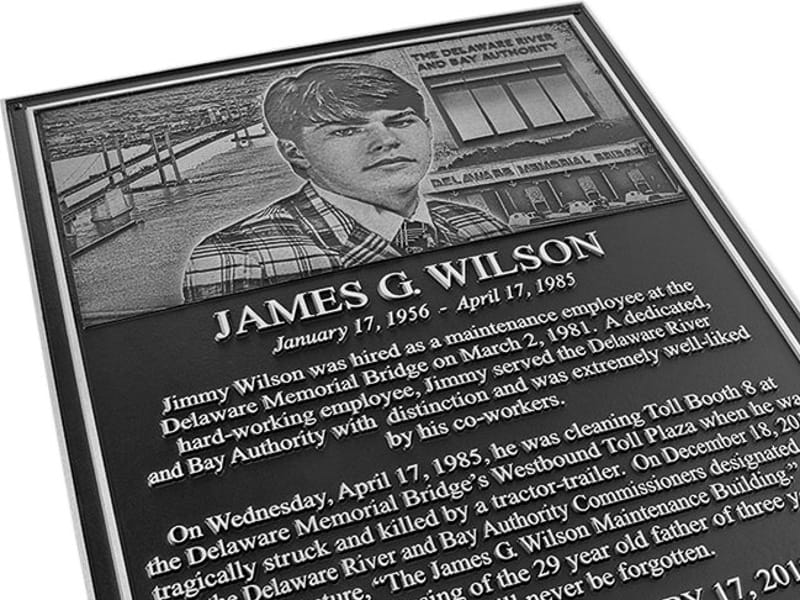 Cast Aluminum commemorative Plaque with Photo Sculpted Relief Portrait engraved