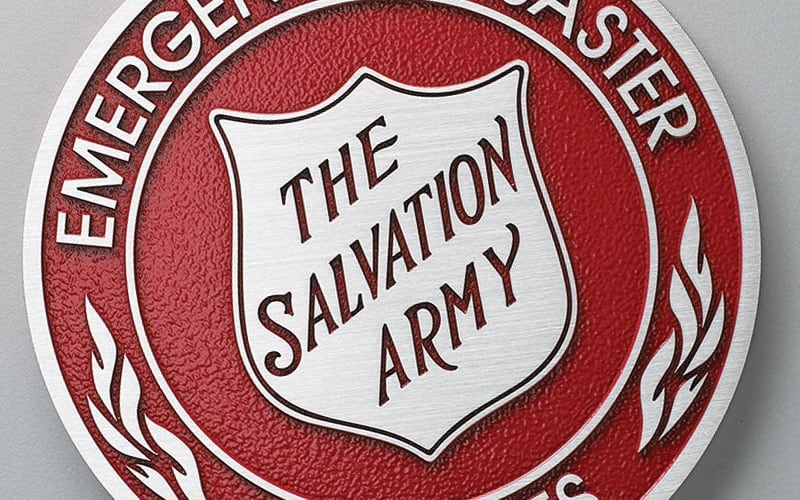 Brushed Cast Aluminum Metal Plaque for salvation army seal with red background