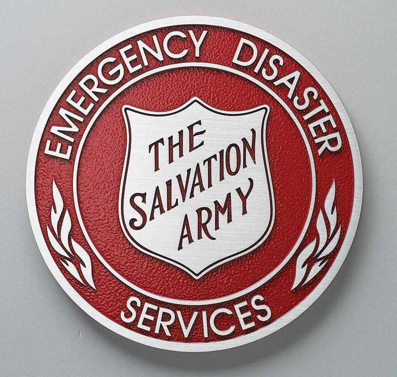 Brushed Cast Aluminum metal plaque with red background for salvation army seal