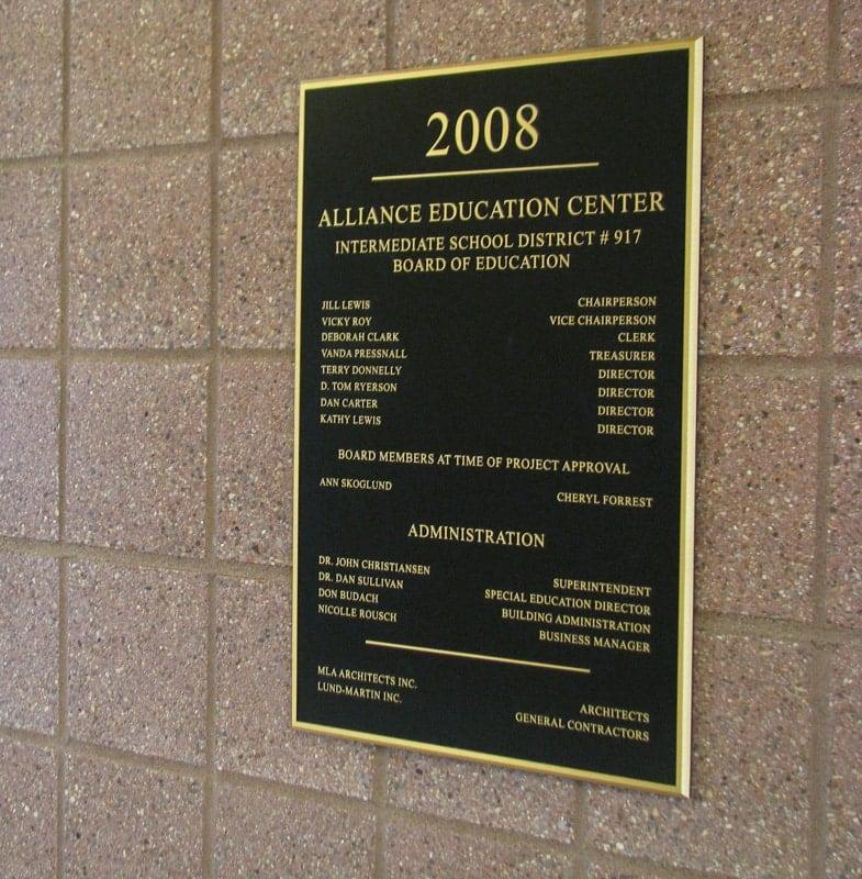 brass metal plaque alliance board education school 2