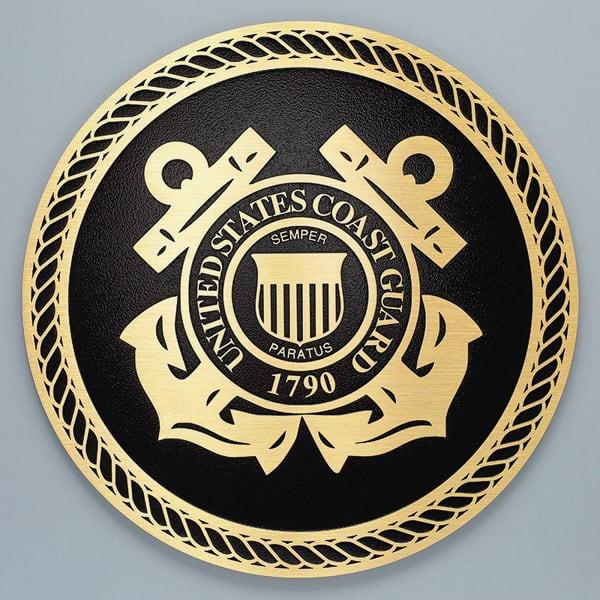 brass metal plaque military seal coast guard