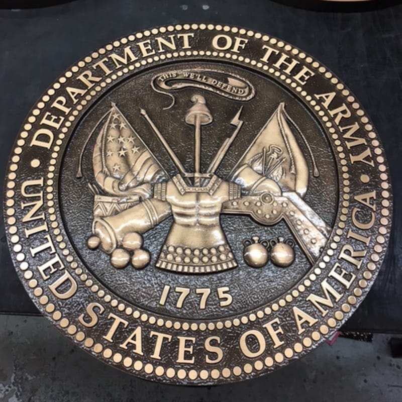 cast brushed bronze plaque for army military seal with 3d bas relief