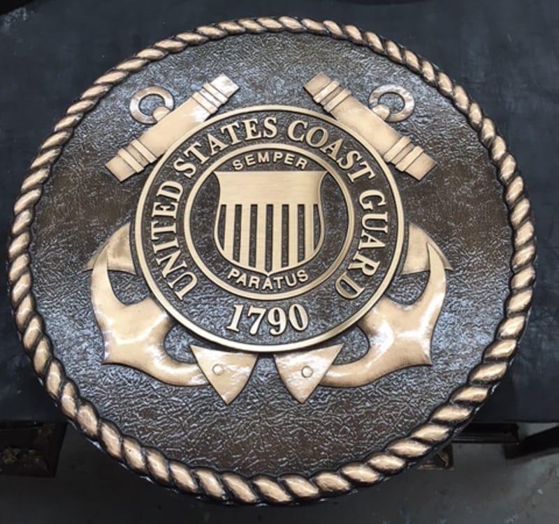 bronze metal bas military seal plaque coast guard