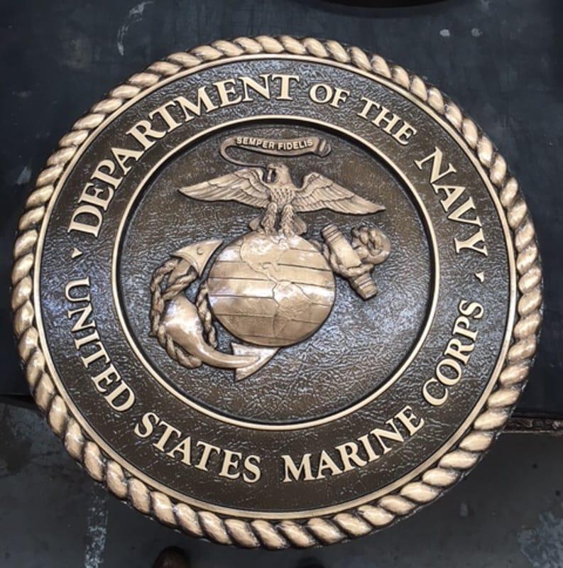 bronze metal bas military seal plaque marine corps