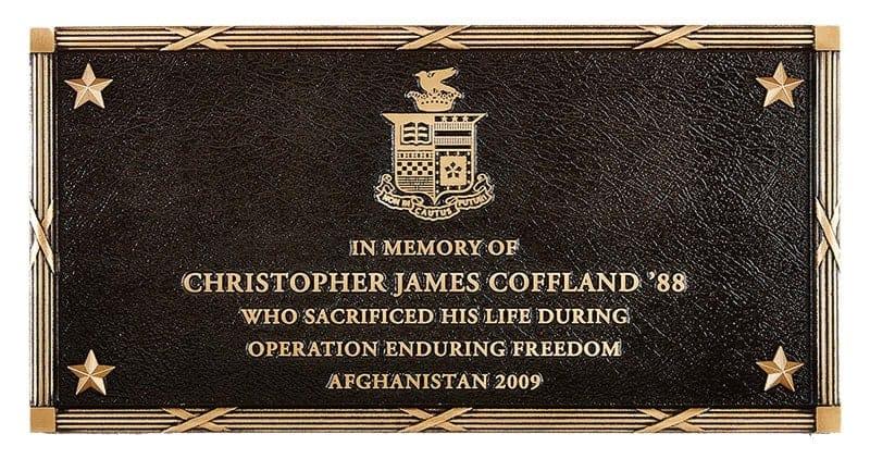 bronze metal plaque bas border commemorative coffland