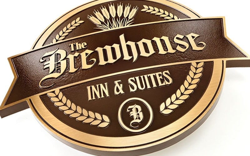 Brushed Bronze Plaque with brown background for restaurant