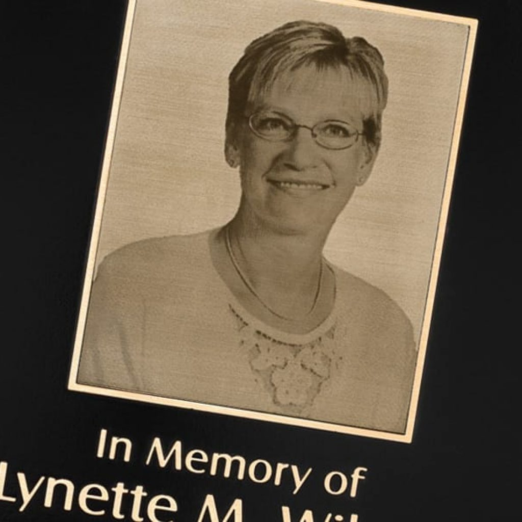 cast brushed bronze plaque with photo portrait loved one rememberance