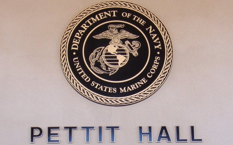 bronze metal plaque letters marine seal pettit